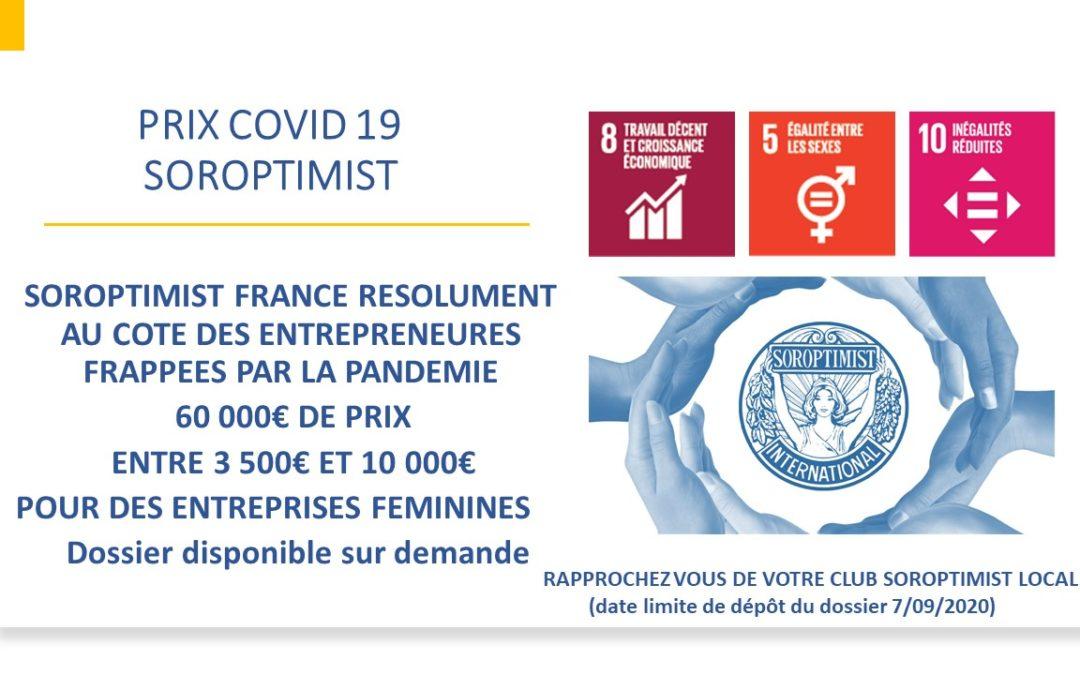 Prix Sorop envie d'entreprendre 2020 & Prix Covid SOROPTIMIST FRANCE